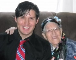Hanging out with my grandma.